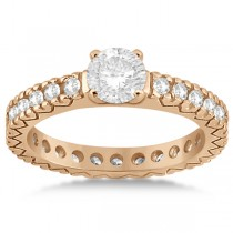 Eternity Diamond Engagement Ring Setting Womens 18K Rose Gold 0.40ct