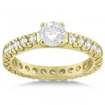 Eternity Diamond Engagement Ring Setting Womens 18K Yellow Gold 0.40ct