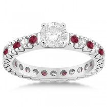 Diamond & Ruby Pave Eternity Engagement Ring 14k White Gold (0.40ct)