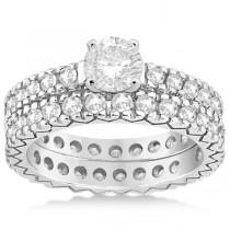 Diamond Eternity Bridal Ring Engagement Set in 18k White Gold 0.95ctw