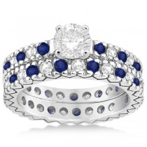 Diamond & Blue Sapphire Pave Eternity Bridal Set 14k White Gold (0.85ct)