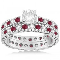 Diamond & Ruby Pave Eternity Bridal Set 14k White Gold (0.85ct)