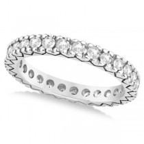 Women's Pave Set Diamond Eternity Wedding Band 14k White Gold 0.45ct