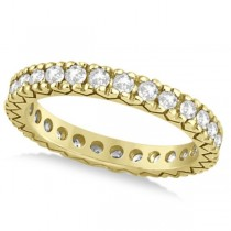 Women's Pave Set Diamond Eternity Wedding Band 14k Yellow Gold 0.45ct