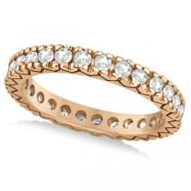 Women's Pave Set Diamond Eternity Wedding Band 18k Rose Gold 0.45ct