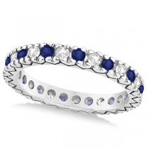 Diamond & Blue Sapphire Eternity Wedding Band 14k White Gold (0.45ct)
