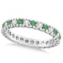 Diamond & Emerald Pave Eternity Wedding Band 14k White Gold (0.45ct)