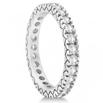 Women's Pave Set Diamond Eternity Wedding Band in Platinum 0.45ct