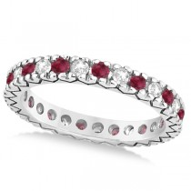 Diamond & Ruby Pave Eternity Wedding Band 14k White Gold (0.45ct)