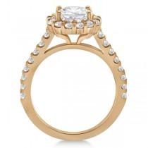 Round Pave Halo Diamond Engagement Ring Setting 14K Rose Gold (0.74ct)