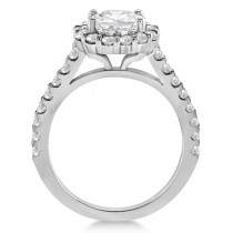 Round Pave Halo Diamond Engagement Ring Setting 14K White Gold (0.74ct)