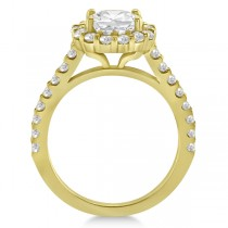 Round Pave Halo Diamond Engagement Ring Setting 14K Yellow Gold (0.74ct)