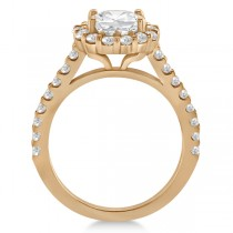 Round Pave Halo Diamond Engagement Ring Setting 18K Rose Gold (0.74ct)