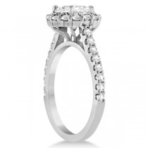 Round Pave Halo Diamond Engagement Ring Setting Platinum (0.74ct)