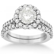 Halo Diamond Engagement Ring and Band Bridal Set Palladium (1.12ct)