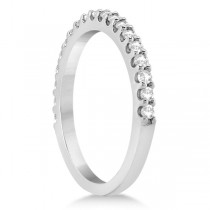 Diamond Semi Eternity Wedding Band Pave Set 14K White Gold (0.38ct)