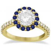 Halo Diamond & Blue Sapphire Engagement Ring 18K Yellow Gold (0.74ct)