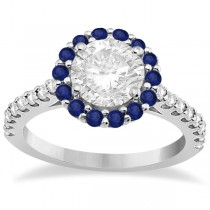 Halo Diamond & Blue Sapphire Engagement Ring Palladium (0.74ct)