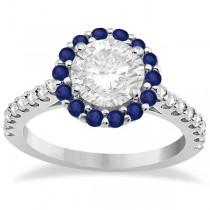 Halo Diamond & Blue Sapphire Engagement Ring Palladium (1.16ct)
