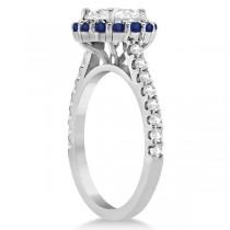 Halo Diamond & Blue Sapphire Engagement Ring Platinum (0.74ct)