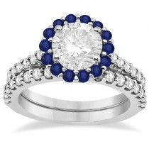 Halo Diamond & Blue Sapphire Ring Bridal Set 14K White Gold (1.54ct)
