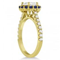 Halo Diamond & Blue Sapphire Ring Bridal Set 14K Yellow Gold (1.12ct)