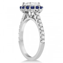 Halo Diamond & Blue Sapphire Ring Bridal Set 18K White Gold (1.12ct)