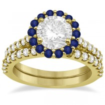 Halo Diamond & Blue Sapphire Ring Bridal Set 18K Yellow Gold (1.12ct)