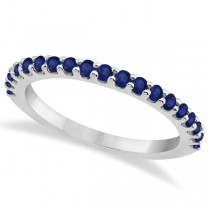 Blue Sapphire Gemstone Wedding Band Pave Set 14K White Gold (0.38ct)