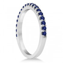 Blue Sapphire Gemstone Wedding Band Pave Set 14K White Gold (0.38ct)|escape