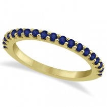 Blue Sapphire Gemstone Wedding Band Pave Set 14K Yellow Gold (0.57ct)
