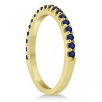 Blue Sapphire Gemstone Wedding Band Pave Set 14K Yellow Gold (0.38ct)