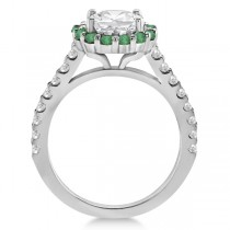 Round Halo Diamond and Emerald Engagement Ring 14K White Gold (0.74ct)