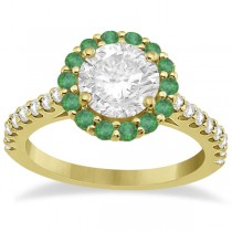 Round Halo Diamond and Emerald Engagement Ring 14K Yellow Gold (1.16ct)