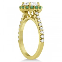 Round Halo Diamond and Emerald Engagement Ring 14K Yellow Gold (0.74ct)