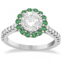 Round Halo Diamond and Emerald Engagement Ring 18K White Gold (0.74ct)