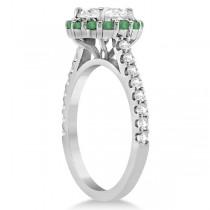 Round Halo Diamond and Emerald Engagement Ring 18K White Gold (0.74ct)