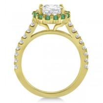 Halo Diamond & Emerald Bridal Engagement Ring Set 14K Yellow Gold (1.12ct)