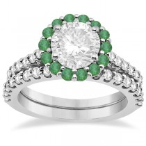 Halo Diamond & Emerald Bridal Engagement Ring Set 18K White Gold (1.12ct)