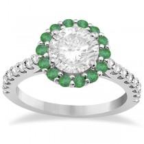 Halo Diamond & Emerald Bridal Engagement Ring Set 18K White Gold (1.12ct)