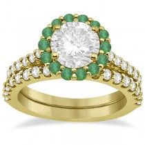 Halo Diamond & Emerald Bridal Engagement Ring Set 18K Yellow Gold (1.54ct)