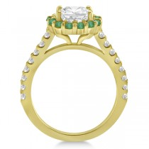 Halo Diamond & Emerald Bridal Engagement Ring Set 18K Yellow Gold (1.12ct)