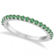 Green Emerald Stone Anniversary Band Pave Set 14K White Gold (0.57ct)