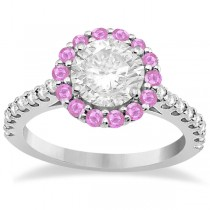 Halo Diamond & Pink Sapphire Engagement Ring 14K White Gold (0.74ct)