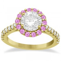 Halo Diamond & Pink Sapphire Engagement Ring 18K Yellow Gold (1.16ct)