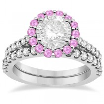 Halo Diamond & Pink Sapphire Bridal Ring Set 14K White Gold (1.12ct)