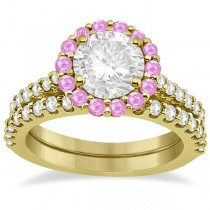 Halo Diamond & Pink Sapphire Bridal Ring Set 18K Yellow Gold (1.54ct)