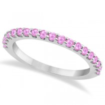 Pink Sapphire Gem Stone Wedding Band Pave Set 14K White Gold (0.57ct)