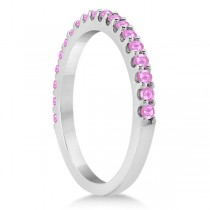Pink Sapphire Gem Stone Wedding Band Pave Set 14K White Gold (0.38ct)