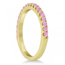 Pink Sapphire Gem Stone Wedding Band Pave Set 14K Yellow Gold (0.38ct)